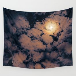 Full moon through purple clouds Wall Tapestry