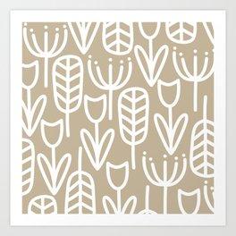 Cheerful Garden Botanical Pattern - Scandinavian Minimalism in White and Neutral Flax Art Print