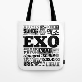 EXO Font Collage Tote Bag