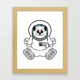 """Cute Space Cat Astronaut"" tee design. Cute and adorable tee design perfect for fur lovers like you! Framed Art Print"
