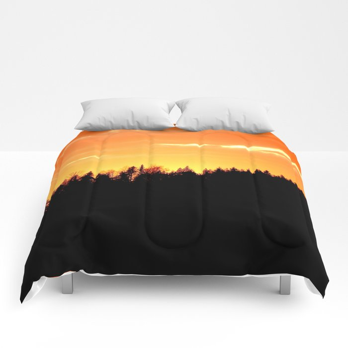 Black Forest Silhouette In Orange Sunset #decor #society6 Comforters