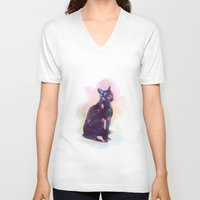 egyptian V-neck T-shirts featuring Egyptian cat  by Vita♥G
