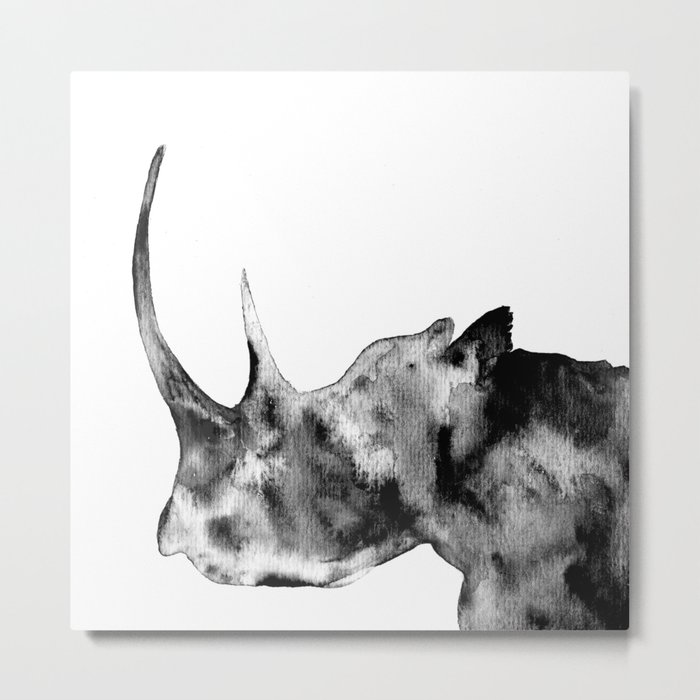 Rhinoceros, black and white Metal Print