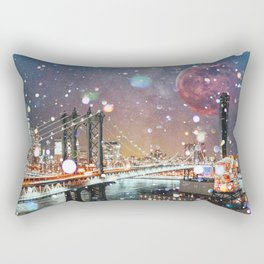 New York City Lights Manhattan Rooftop City Views Rectangular Pillow