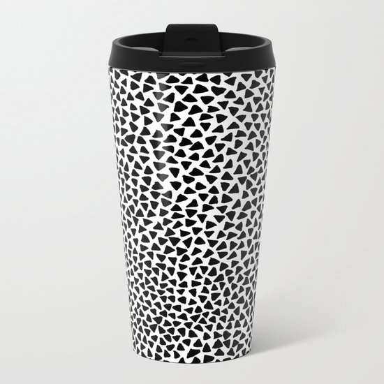 Black Triangles Metal Travel Mug