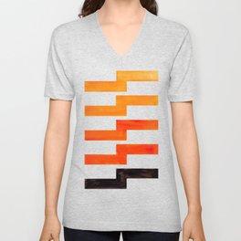 Orange & Black Geometric Minimal Mid Century Modern Lightning Bolt Pattern Watercolor Art Unisex V-Neck