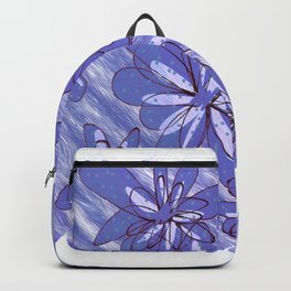 Flowers in Blue Backpack