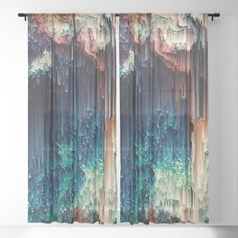 Cave of Wonders - Abstract Glitch Pixel Art Sheer Curtain