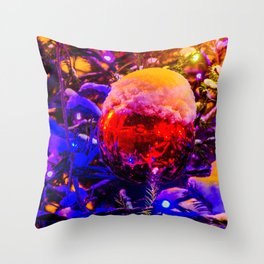 Red Ornament Ball, Snow Cap Throw Pillow