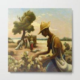 Classical Masterpiece 'Picking Cotton Under the Sun' by Thomas Hart Benton Metal Print