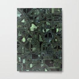 Dark green circuitry Metal Print