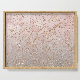 Mixed glitters on pink marble Serving Tray