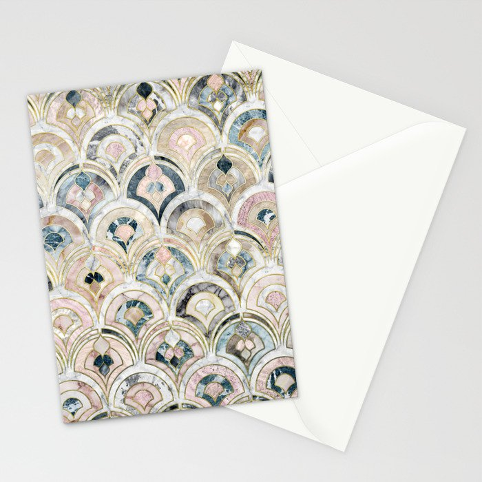 Art Deco Marble Tiles in Soft Pastels Stationery Cards