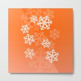 Cute orange snowflakes Metal Print