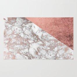 Stylish elegant white faux rose gold modern marble Rug