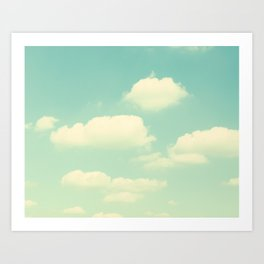 Mint Turquoise Sky Clouds, Teal Nursery Cloud Photography, Baby's Room Photo Art Print