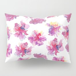 Pink violet yellow watercolor hand painted peonies pattern Pillow Sham