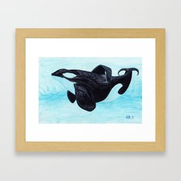 A Prayer for the Orca ~ Watercolor Painting by Amber Marine, (Copyright 2013) Framed Art Print