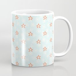 Blue and Orange Christmas Winter Star Snowflakes Coffee Mug