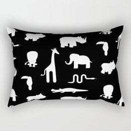 Exotic white animals pattern Rectangular Pillow