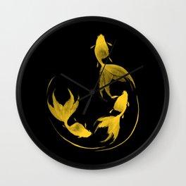 Follow the Leader - Goldfish Sumi-e Gold Version Wall Clock