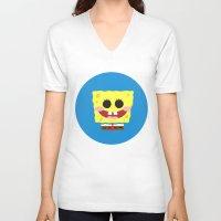 spongebob V-neck T-shirts featuring Spongebob Squarepants by Eyetoheart