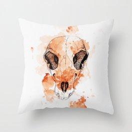 watercolor skull #3 Throw Pillow