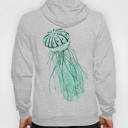 green jellyfish watercolor Hoody