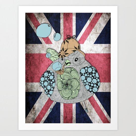 Sherlock Sparrow with Union Jack Art Print