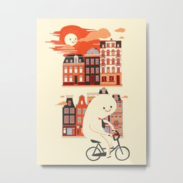 Happy Ghost Biking Through Amsterdam Metal Print