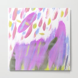 Hand painted neon pink lime green watercolor brushstrokes Metal Print