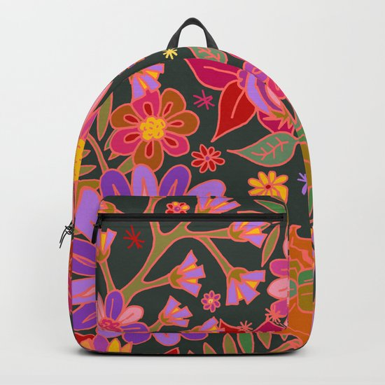 Flowers on Green Backpack