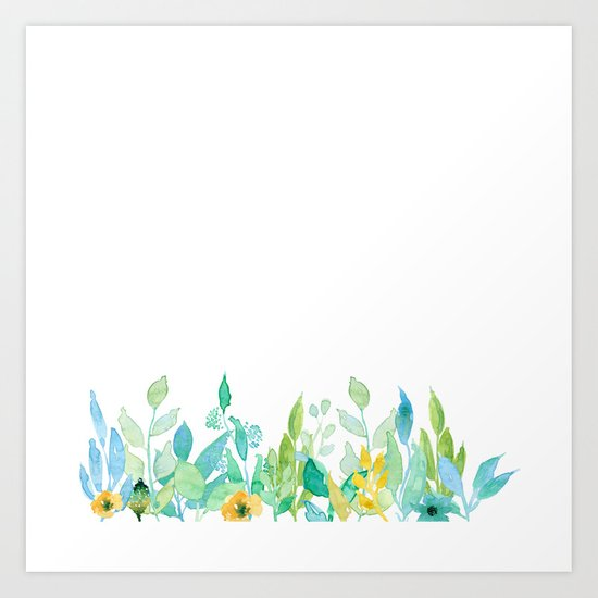 flowers in a meadow - Floral watercolor illustration on white background Art Print