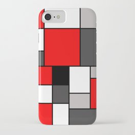 Red Black and Grey squares iPhone Case