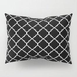 Black and White Moroccan Quatrefoil Pillow Sham