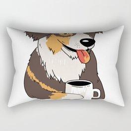 aussie dog coffee quote  Rectangular Pillow