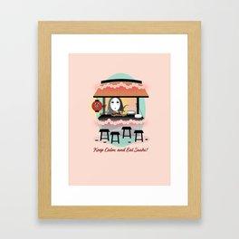 No Face Kaonashi Selling Sushi Framed Art Print