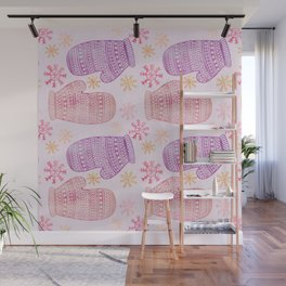 Wintertime pattern knitted mittens Wall Mural