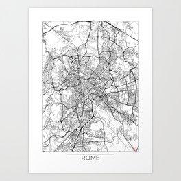 Rome Map White Art Print