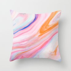 Rainbow Marble Print Throw Pillow
