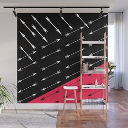 Red black , white pattern Arrow . Wall Mural