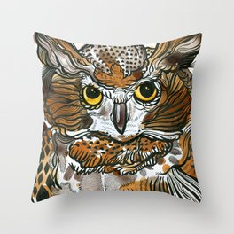 Owl Tea Throw Pillow