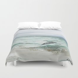 Anna Maria Island Florida Seascape with Heron Duvet Cover