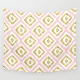 Pink & Gold Ikat Pattern Wall Tapestry
