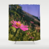 seoul Shower Curtains featuring Seoul Flower by Clayton Jones