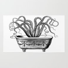 Tentacles in the Tub | Octopus | Black and White Rug