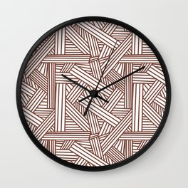 Sketchy Abstract (Brown & White Pattern) Wall Clock