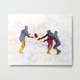 Rugby men players 02 in watercolor Metal Print
