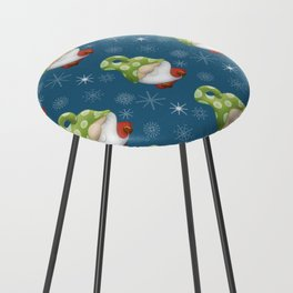 Blue Winter Gnome Pattern Counter Stool