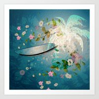 surfing Art Prints featuring Surfing by nicky2342